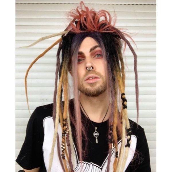 Goth Style Colorful Dreadlocks Styles For Men dreadlock styles for men