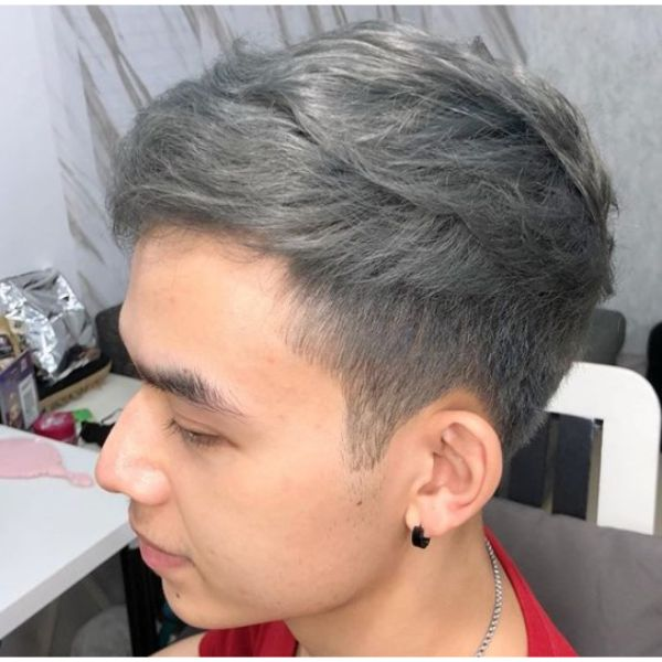 Gray Hairstyle with Shaved Sideburns