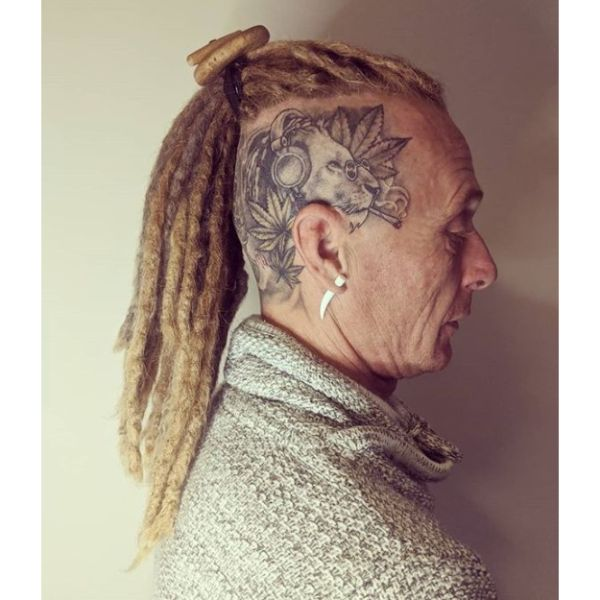 High Bald Fade with Long Blonde Dreadlocks