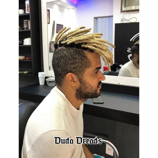 High Blurry Fade with Blonde Dreadlocks and Dark Roots dreadlock styles for men