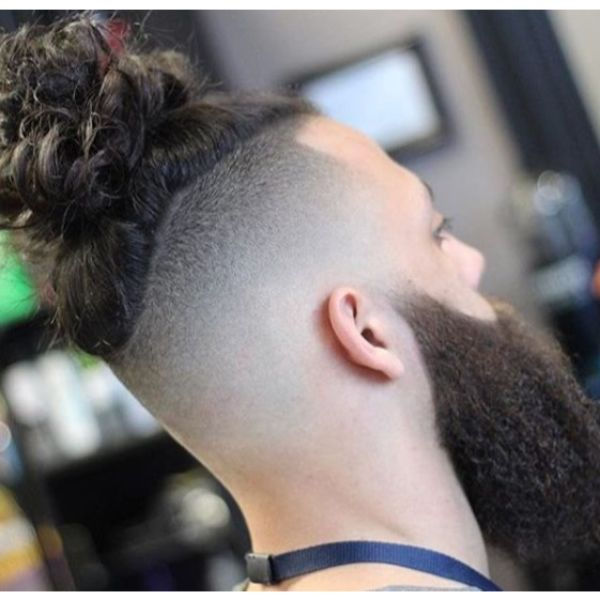 High Fade With Curly Man Bun Man Bun Hairstyles