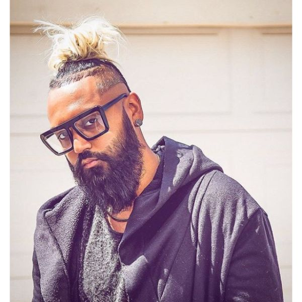 High Fade with Blonde Top Knot