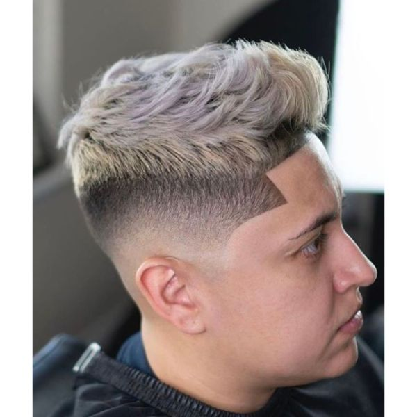 High Fade with Blonde Top Strands