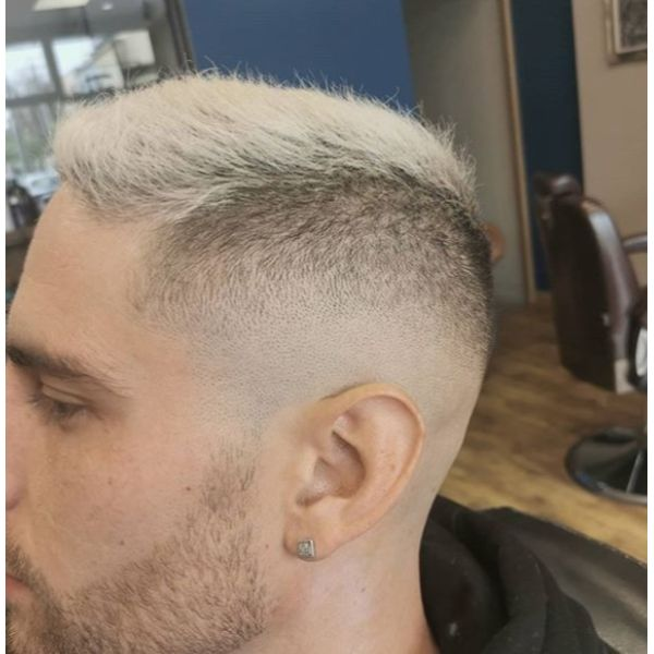 High Fade with Blonde Top silver grey hair men