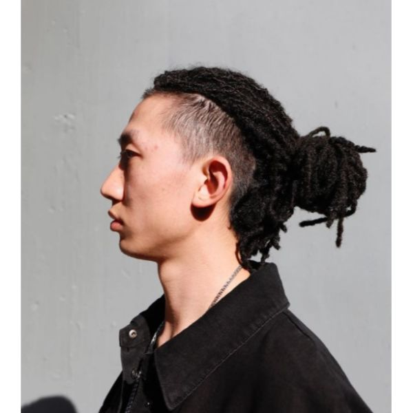 High Fade with Dreadlocks Top Knot