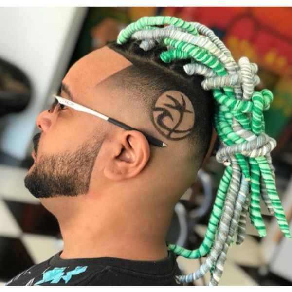 High Fade with Green White Dreadlocks Hairstyle dreadlock styles for men