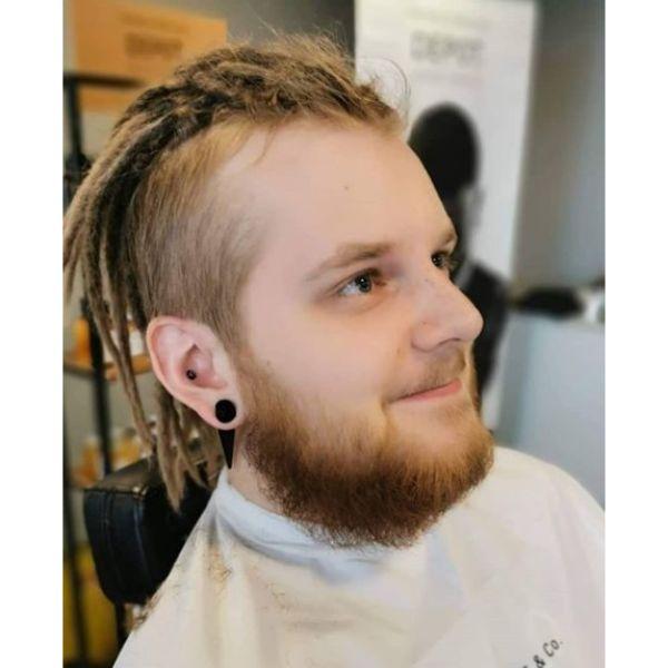 High Fade with Medium Long Blonde Dreadlock Styles For Men dreadlock styles for men