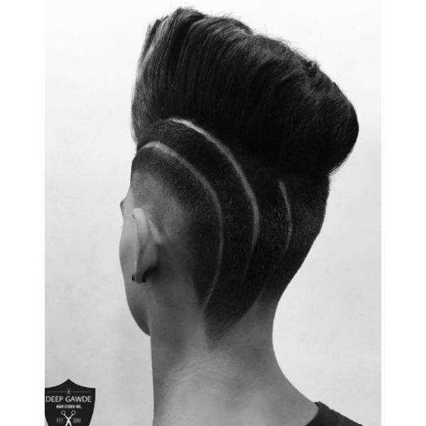 High Fade with Mohawk and Hair Tattoo