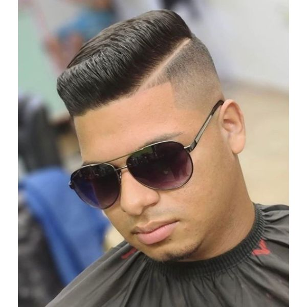 High Fade with Side Part and Flat Top