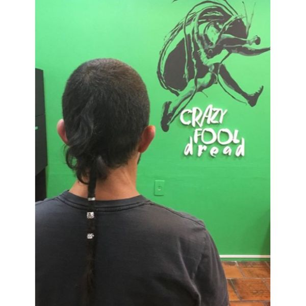 High Fade with Single Dreadlocks and Hair Cuff dreadlock styles for men