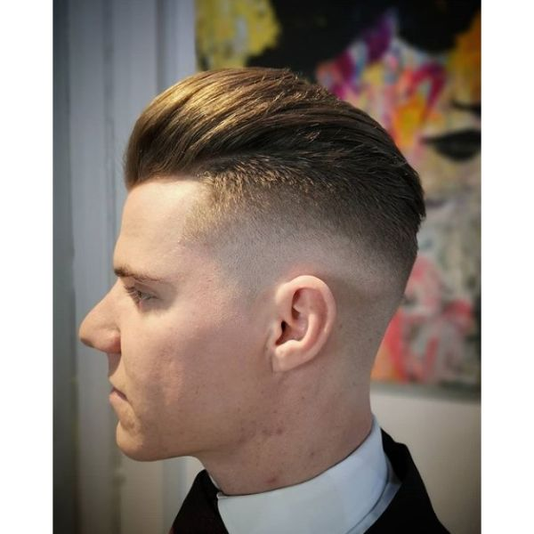 High Fade with Slick Back Top Hairstyle For Men With Straight Hair
