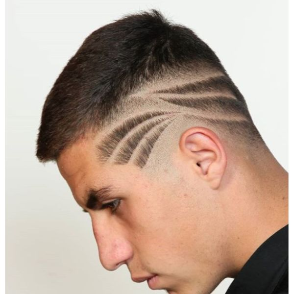 High Fade with Striped Hairstyle