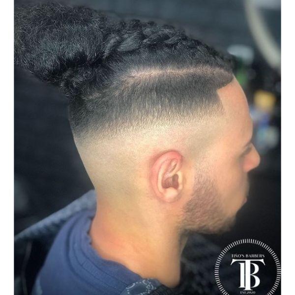 High Fade with Top Braids Man Bun Hairstyles