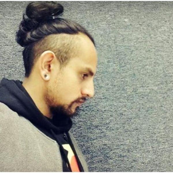 High Fade with Top Bun Hairstyle Man Bun Hairstyles