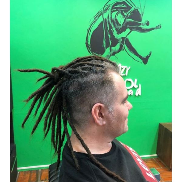 High Fade with Top Knot Dreadlocks