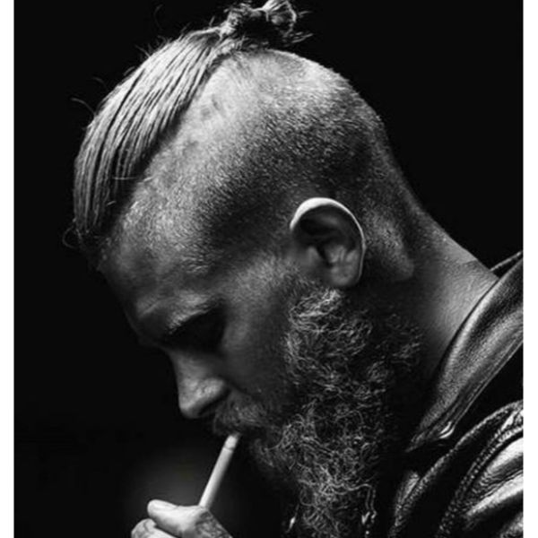 High Fade with Top Knot Hairstyle