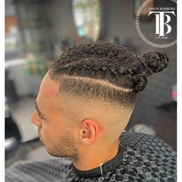 High Fade with Top Knot and Braids Bun Man Bun Hairstyles