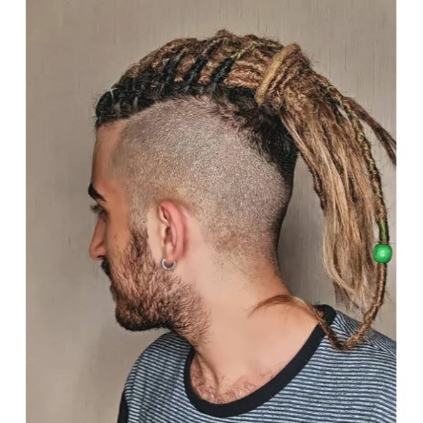 High Fade with Two-colored Blonde Dark Dreadlocks