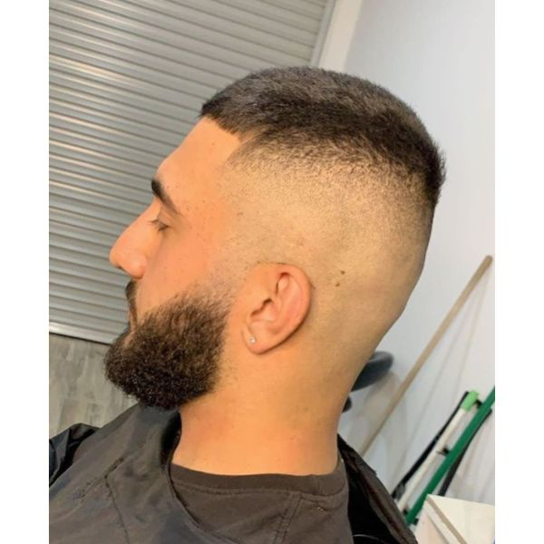 High Skin Fade with Beard Hairstyle For Men With Straight Hair