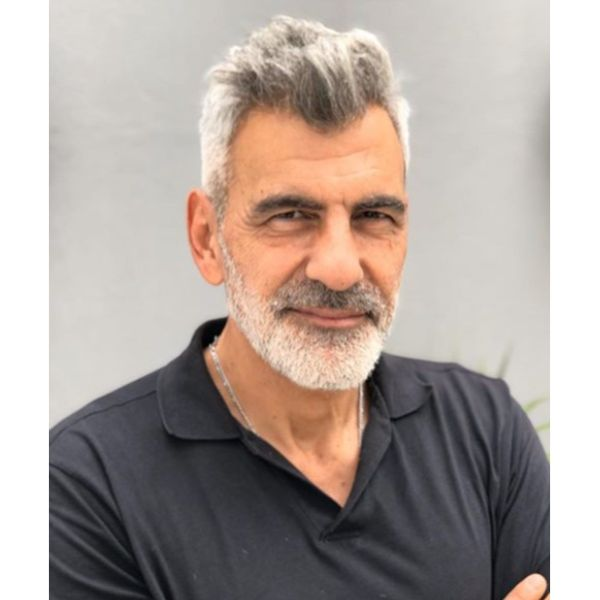 High Swept Gray Hairstyle with Beard silver grey hair men