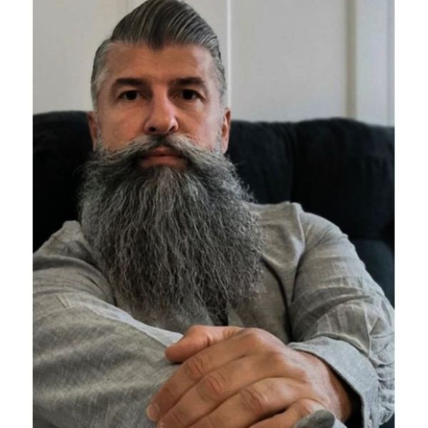 High Swept Pomp with Shaved Sides and Long Beard silver grey hair men