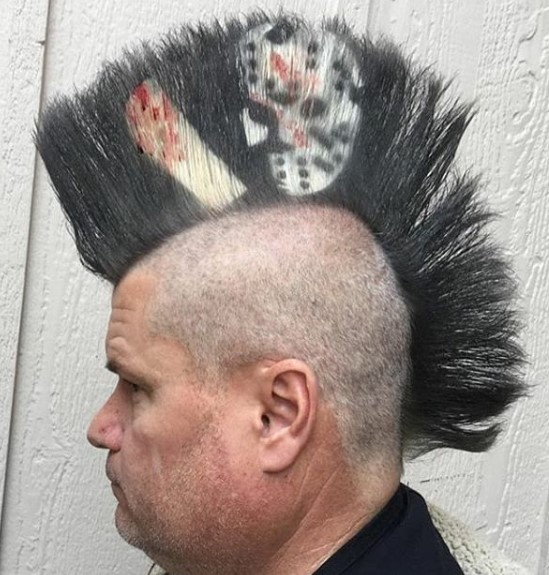 Horror Punk Mohawk Hairstyle with Joker Design