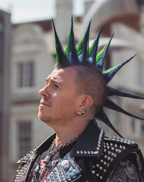 Liberty Spikes Hairstyle with Purple Green Spikes punk hairstyles for guys