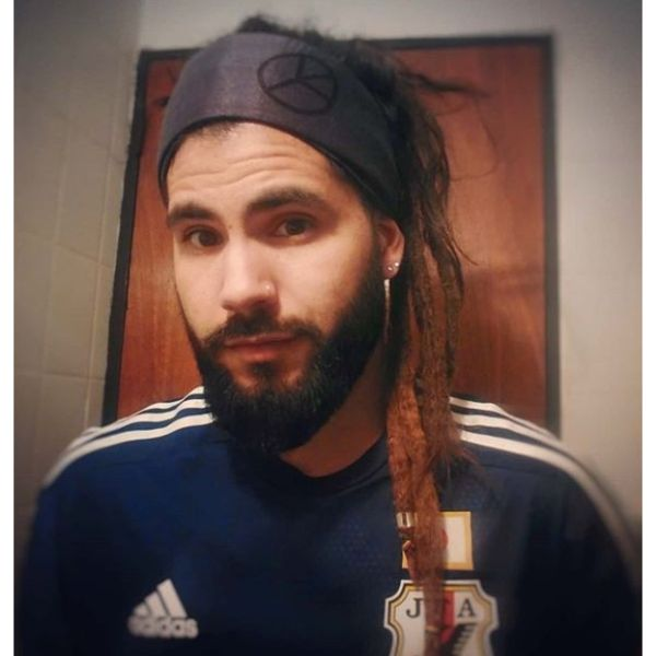 Long Dreadlocks with Hippie Bandana dreadlock styles for men