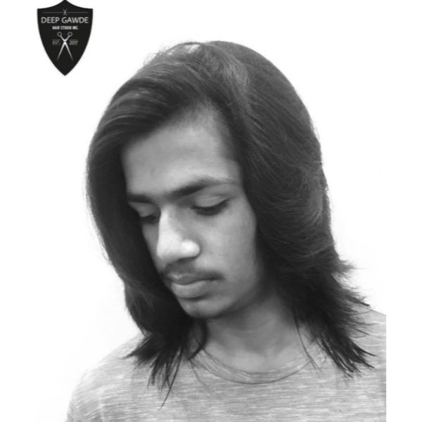Long Sleek Hairstyle For Men With Straight Hair