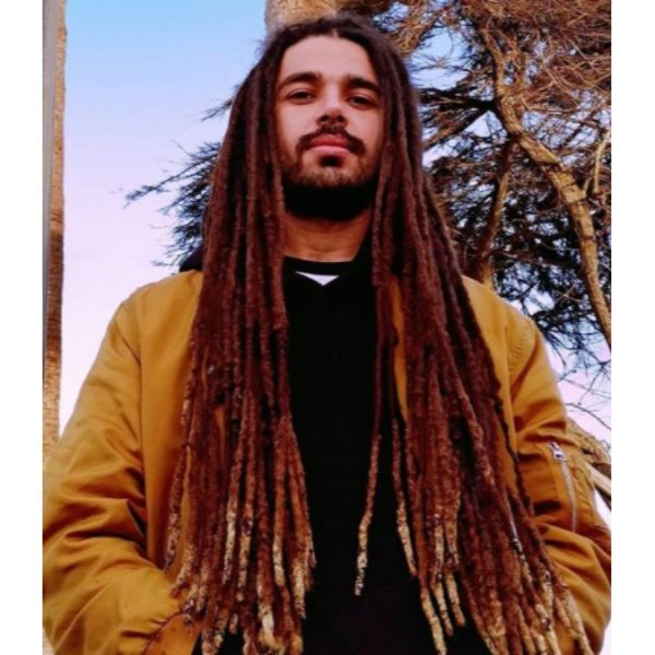 Long Thick Brown Dreadlocks with Blonde Tips dreadlock styles for men