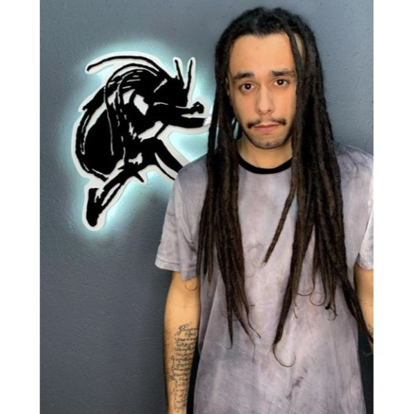 Long Thick Dreadlocks with Mustache Hairstyle For Men dreadlock styles for men