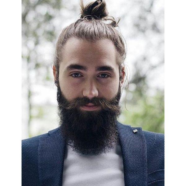 Man Bun wtih Hipster Beard