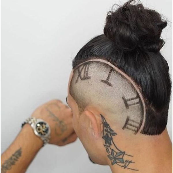 Man Bun wtih Side Razor Clock Design Man Bun Hairstyles