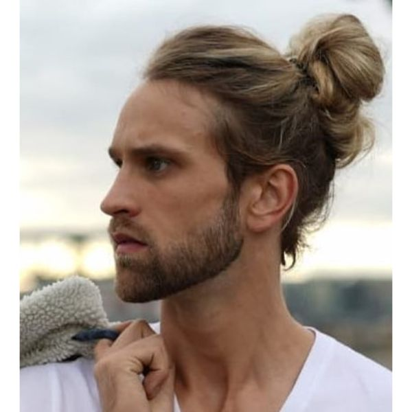 Messy Bun with Blonde Highlights