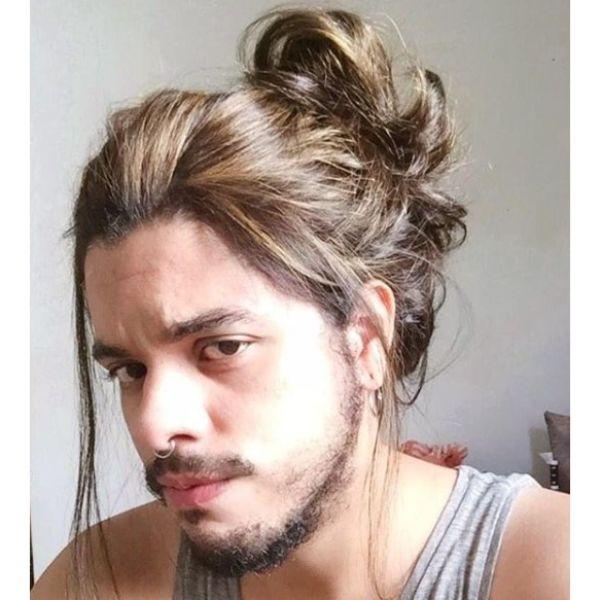Messy Silky Man Bun Hairstyle