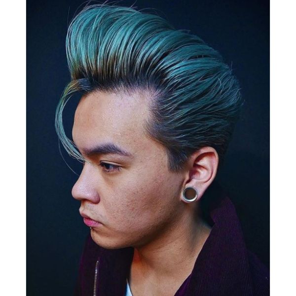 Metallic Turquoise Hairstyle For Men With Straight Hair