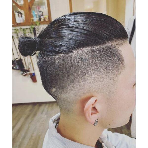 Micro Man Bun with High Fade Hairstyle