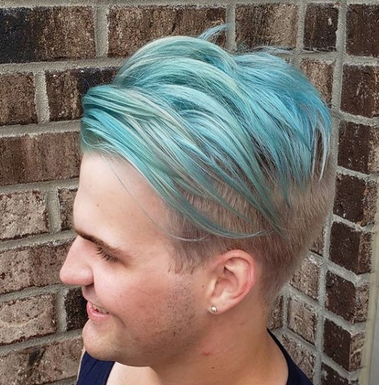 Mint Colored Hairstyle with Shaved Sides punk hairstyles for guys