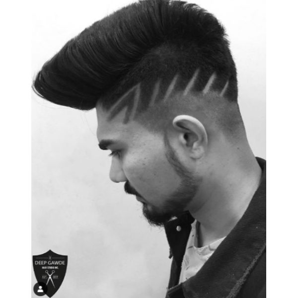 Modern Mohawk With Razor Design Hairstyles For Men With Straight Hair