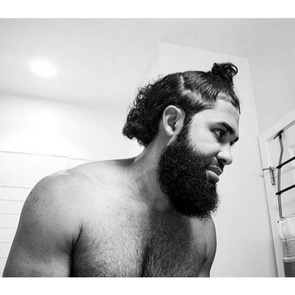 Mullet Cut With Man Bun and Beard