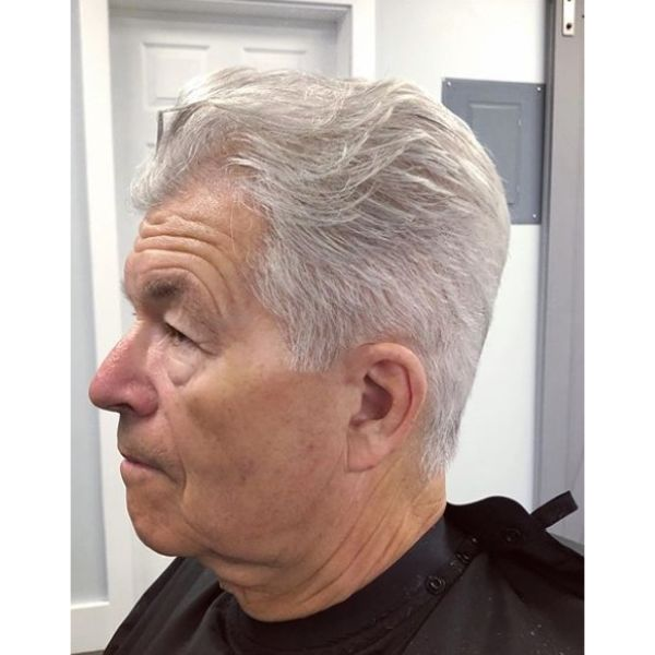Nice Tapered Clean Cut With Flowing Top silver grey hair men