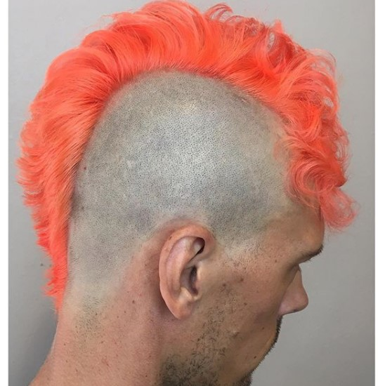 Orange Colored Mohawk With Shaved Sides
