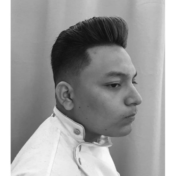 Pompadour and Fade Hairstyles For Men With Straight Hair