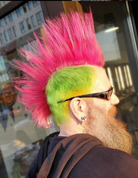 Punk Neon Colored Mohawk with Green, Yellow and Pink Colors