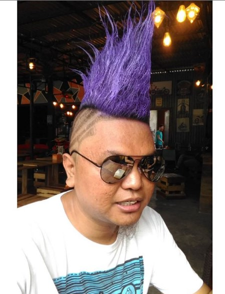 Punk Violet Colored Hairstyle with Shaved Sides