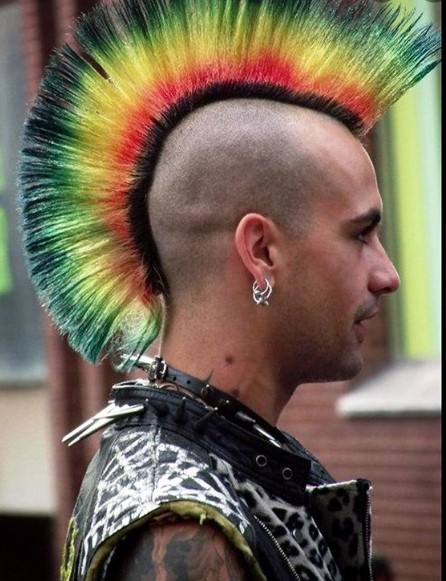 Rainbow Colored Punk Mohawk Hairstyle