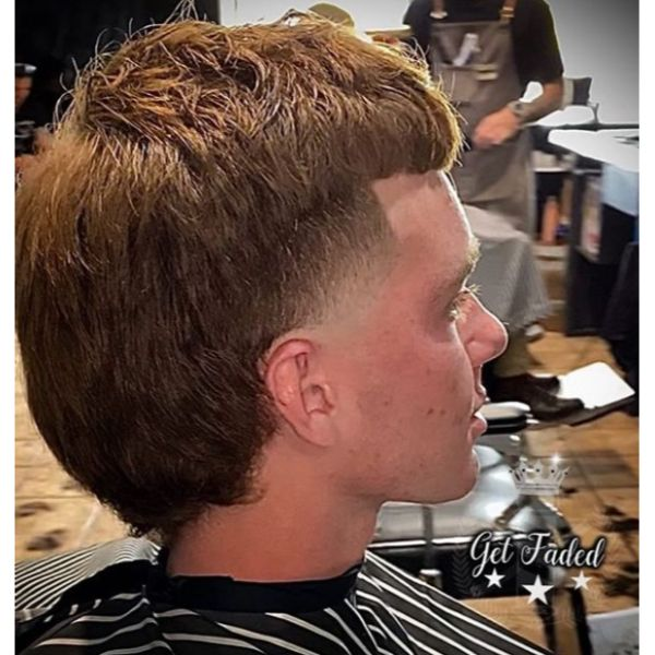 Shaggy Mullet with Low Fade Hairstyle For Men With Straight Hair