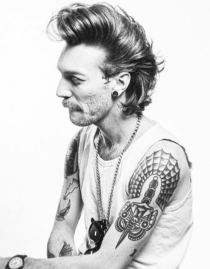 Shinny Punk Sleek Hairstyle with Sideburns punk hairstyles for guys