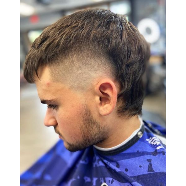 Short Mullet With Faded Sides Hairstyles For Men With Straight Hair