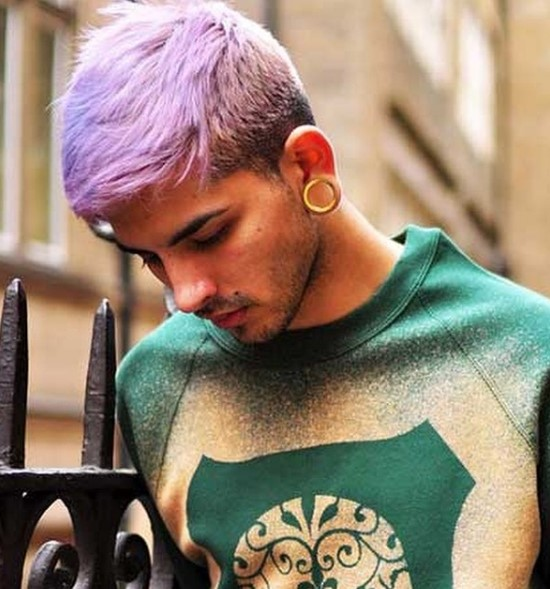 Short Punk Hairstyle with Mauve Strands